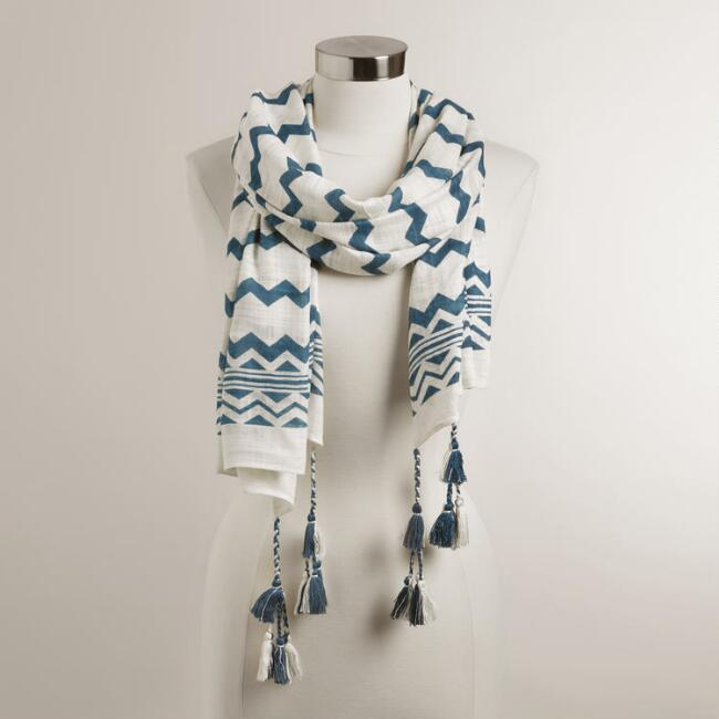 White and Blue Zig Zag Scarf