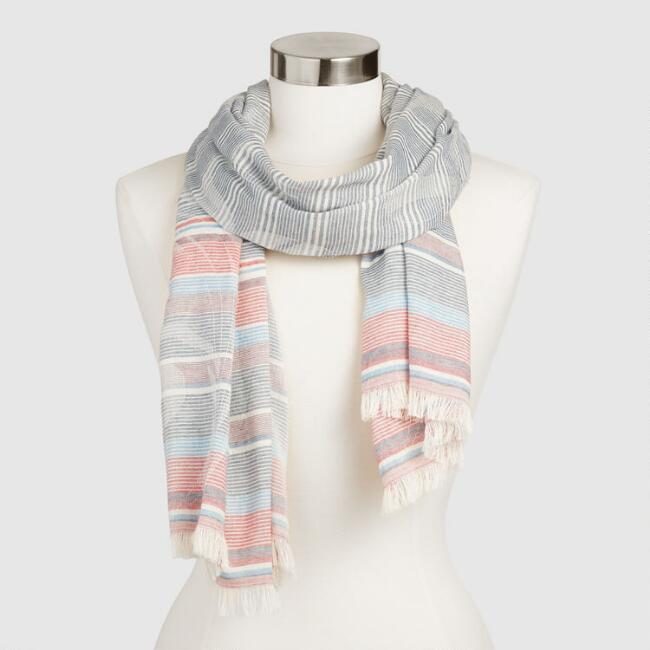 Blue Red and White Stripe Scarf