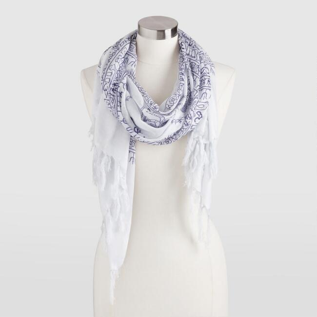 White and Indigo Prayer Shawl with Tassels