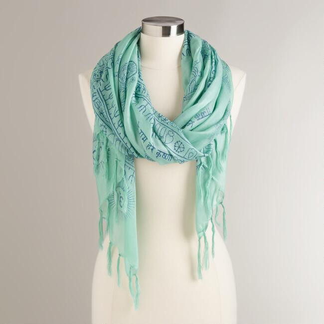 Mint and Blue Prayer Shawl with Tassels