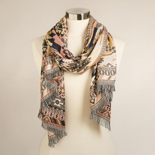 Peach and Brown Jacquard Scarf