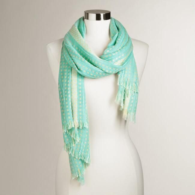Mint and Olive Woven Scarf