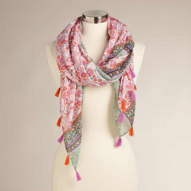 Mint and Pink Scarf with Gold Foil Dots