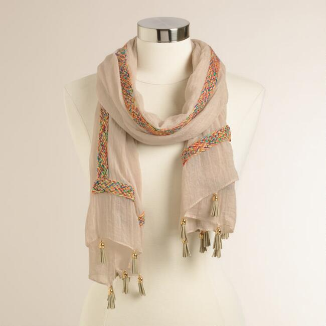 Beige Striped Woven Scarf with Tassels