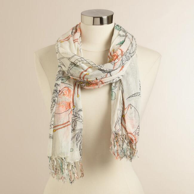 Coral and Mint Floral Scarf
