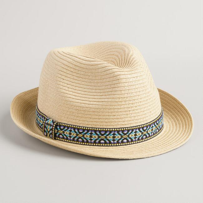 Beige Fedora with Jacquard Band