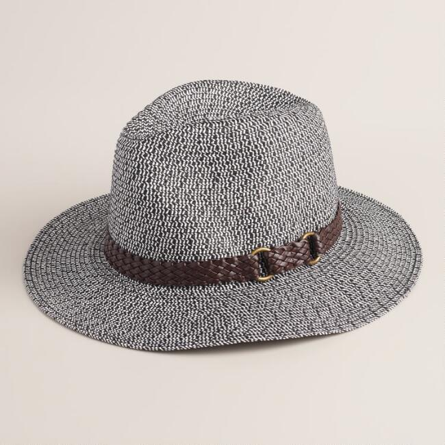 Navy Marled Panama Hat with Leather Band