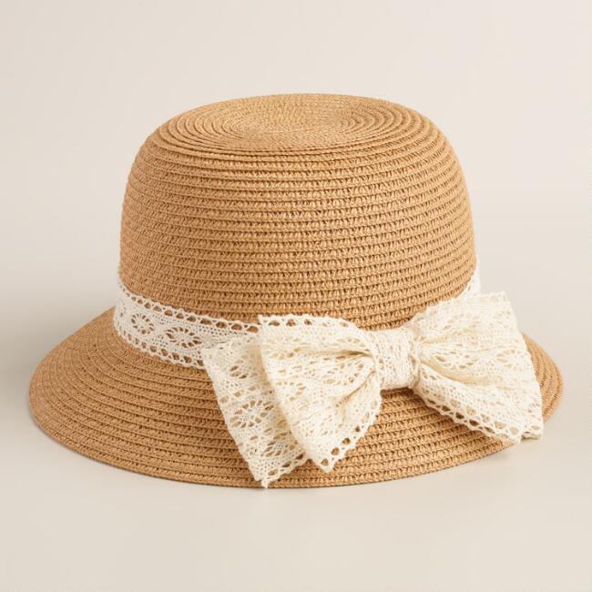 Beige Bucket Hat with Crochet Band