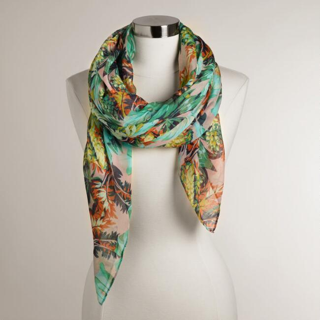 Square Mint Palm Leaf Scarf