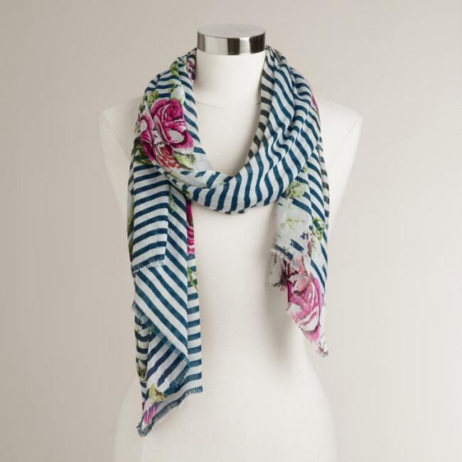 Navy Stripe and Fuchsia Floral Scarf