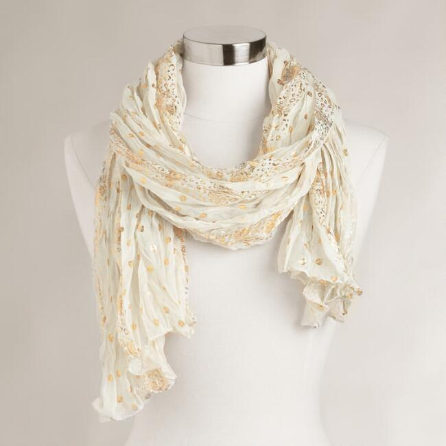 Ivory and Gold Foil Scarf