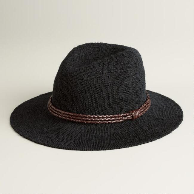 Black Woven Fedora with Leather Band