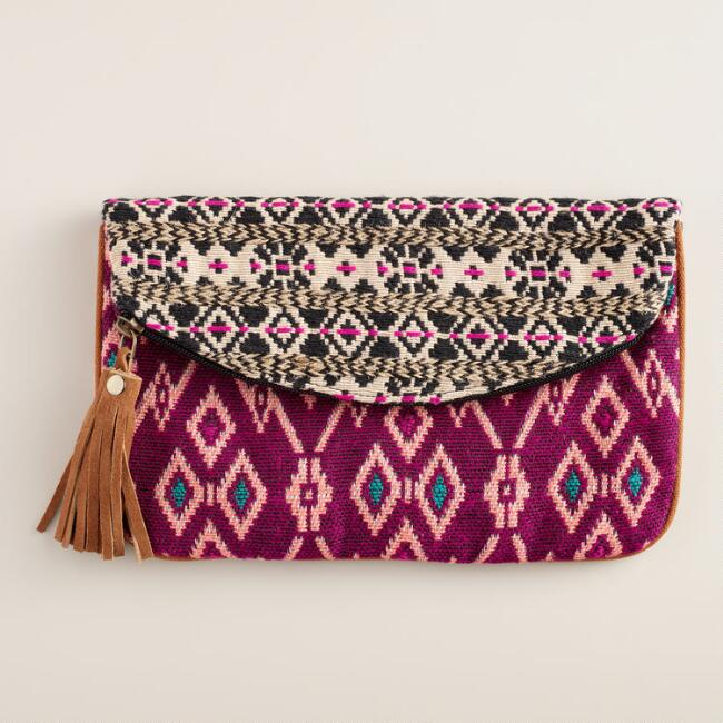 Fuchsia and Black Woven Clutch