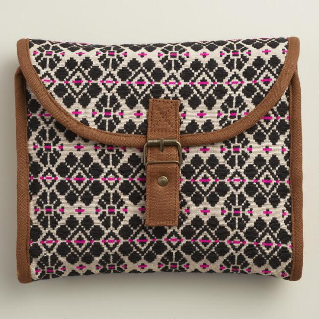 Black and Fuchsia Woven Tri Fold Cosmetic Travel Pouch
