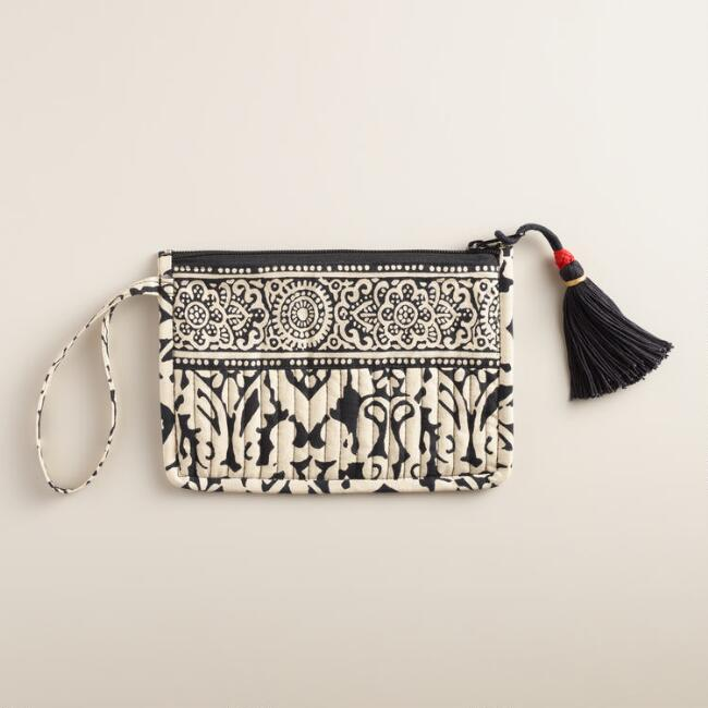 Small Black and Ivory Quilted Pouch