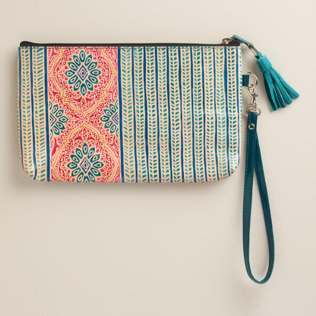 Small Teal and Red Medallion Leather Clutch