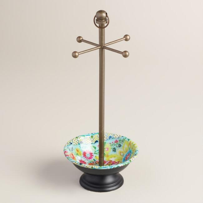 Floral Enameled Bowl Jewelry Stand
