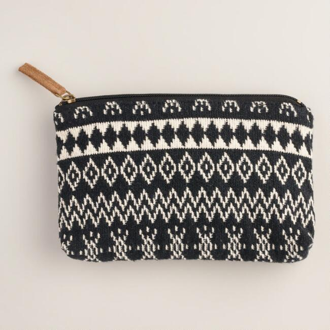 Large Black and Ivory Woven Cosmetic Pouch