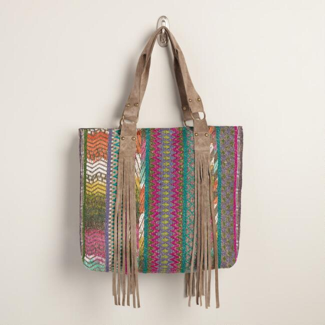 Multicolor Woven Bag with Suede Fringe