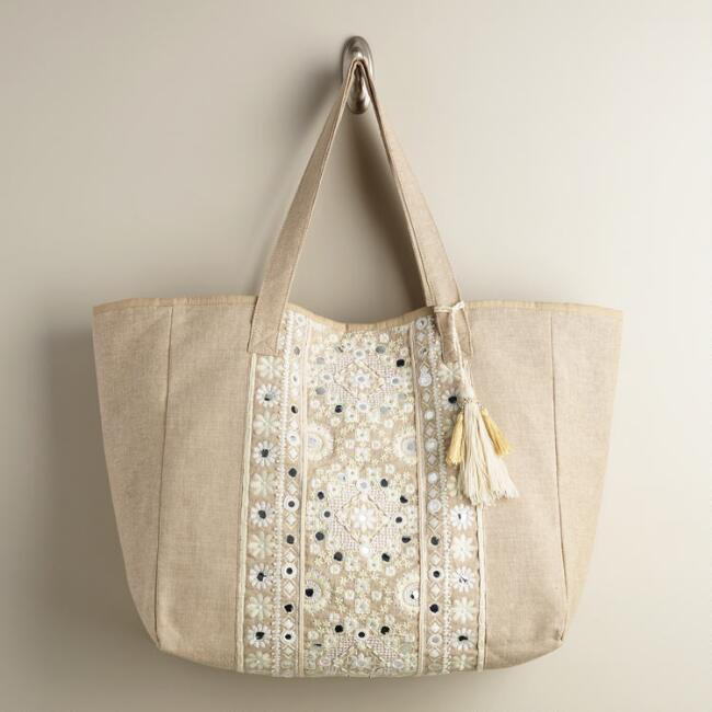 Large Ivory Mirrored Tote Bag