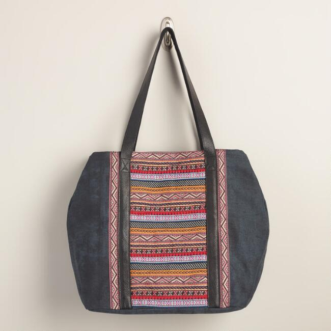 Indigo and Fuchsia Stripe Tote Bag