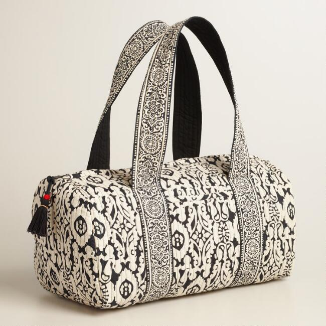 Black and Ivory Floral Quilted Weekender Bag
