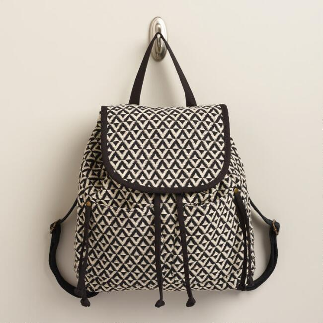 Black and Ivory Diamond Woven Backpack