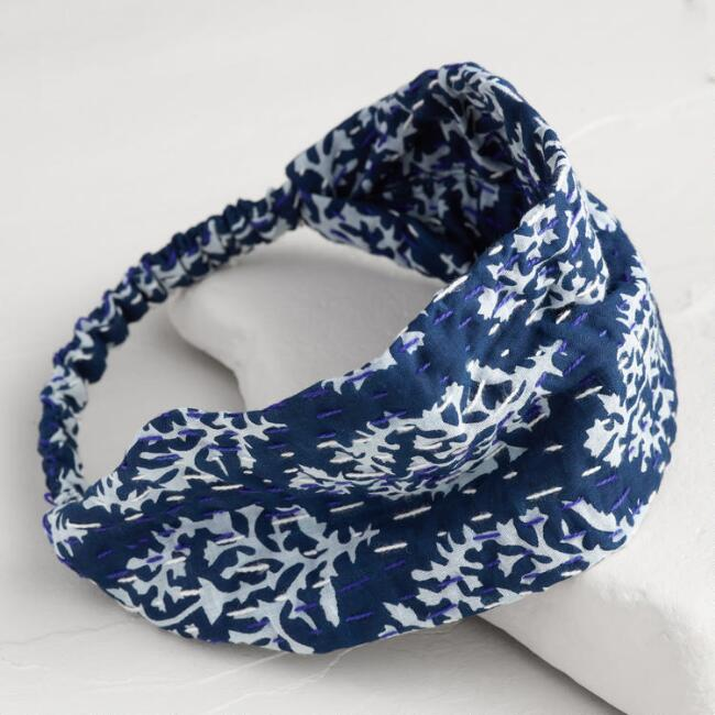Blue Kantha Block Print Headband