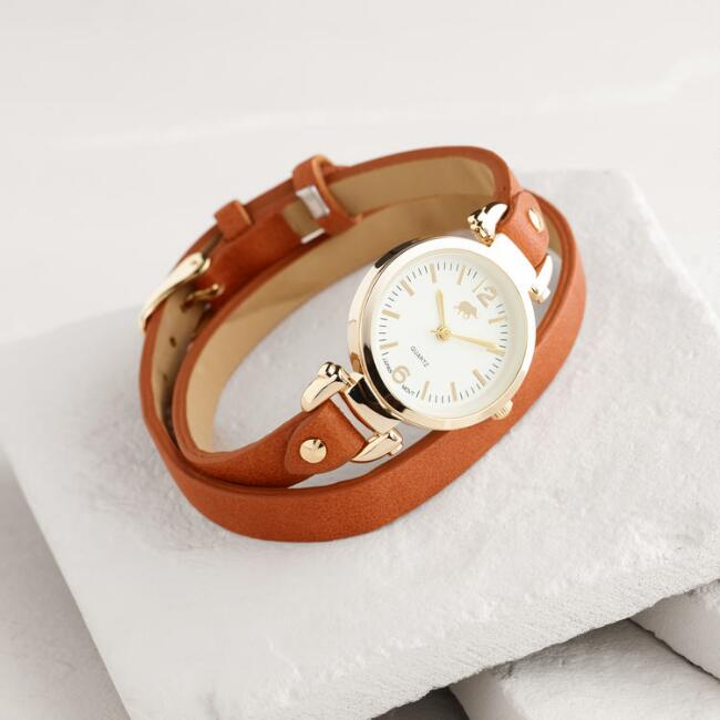 Brown Faux Leather Double Wrap Watch