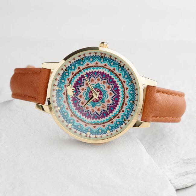Large Brown Mosaic Face Watch