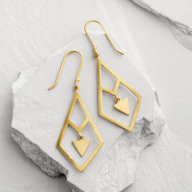 Gold Diamond Geometric Dangle Earrings