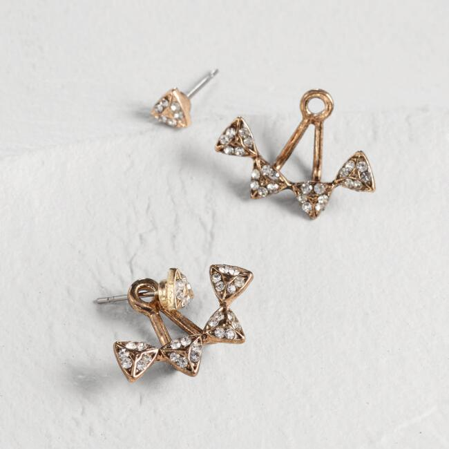 Gold Pave Triangles Ear Jackets