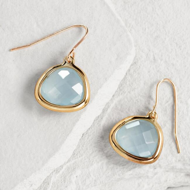 Gold Faceted Blue Stone Drop Earrings