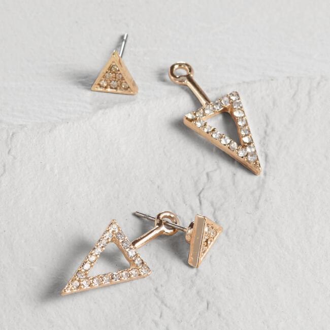 Gold Pave Triangle Ear Jackets