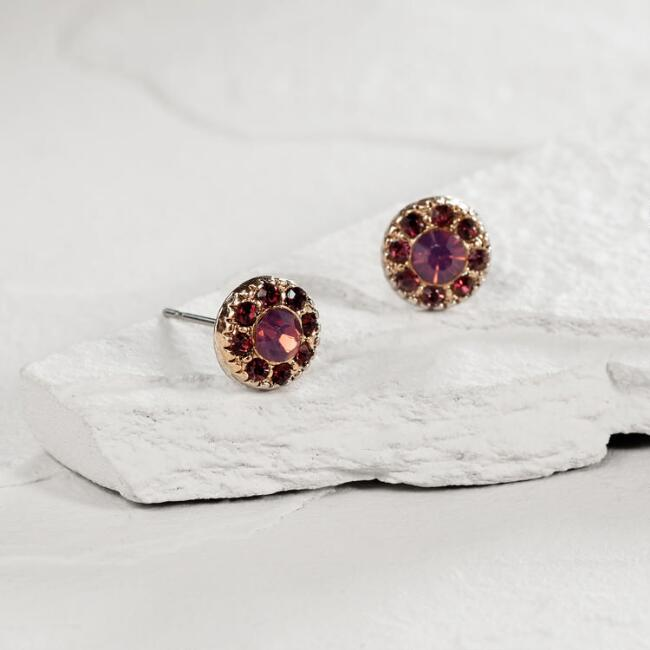 Round Gold and Purple Stud Earrings