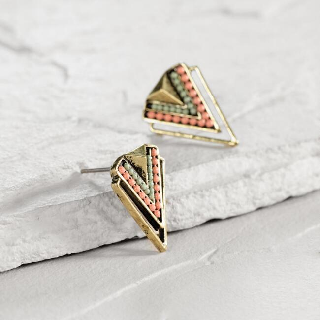 Coral Chevron Stud Earrings