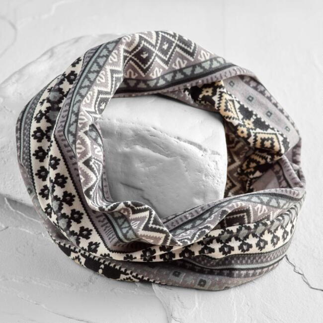 Gray Tribal Jersey Turban Headband