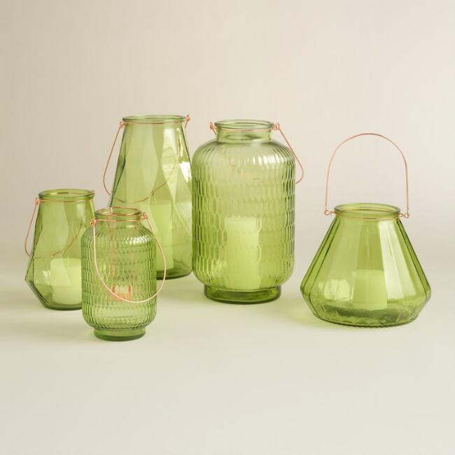 Green Glass Aria Lantern Collection