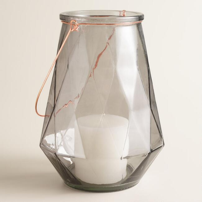 Small Gray Faceted Glass Aria Lantern