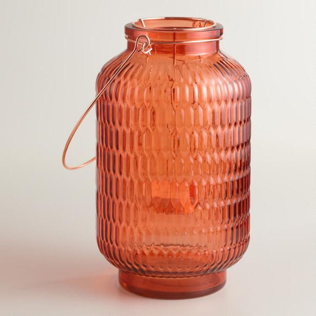 Small Orange Textured Glass Aria Lantern