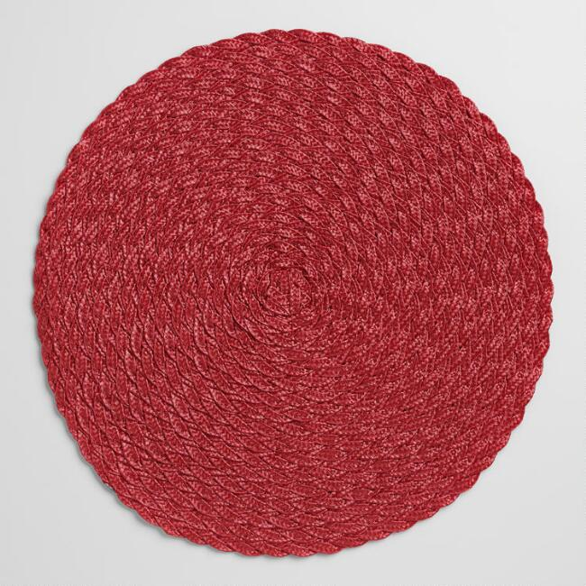 Red Polybraid Placemats Set Of 4