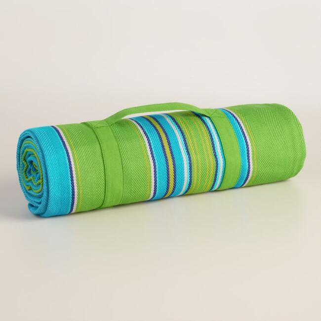 Blue and Green Stripe Cotton Picnic Blanket