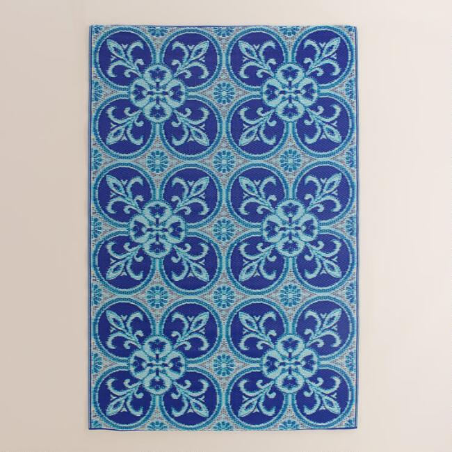 4x6 Blue and White Tile Reversible Rio Floor Mat