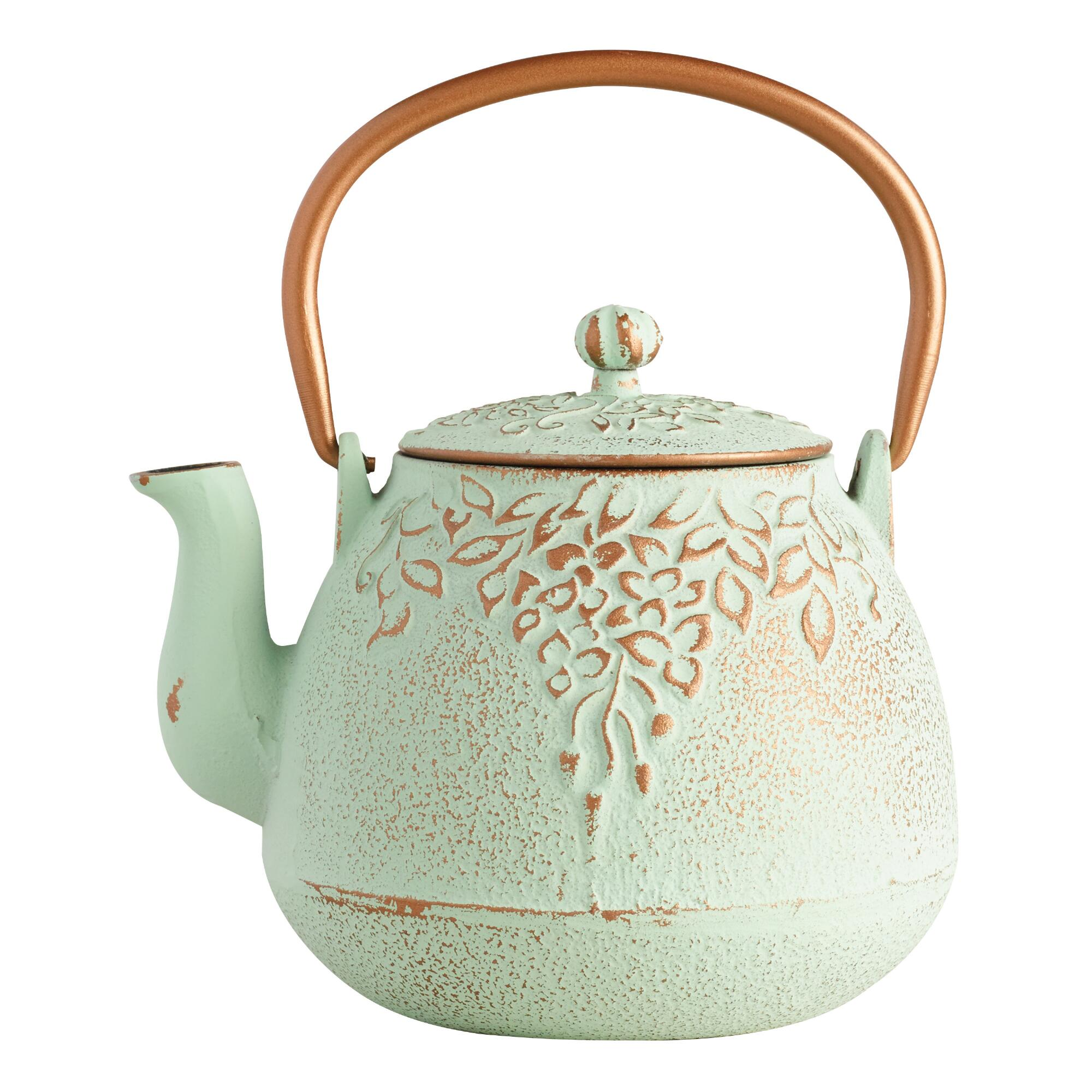 Light Green Embossed Cast Iron Teapot by World Market