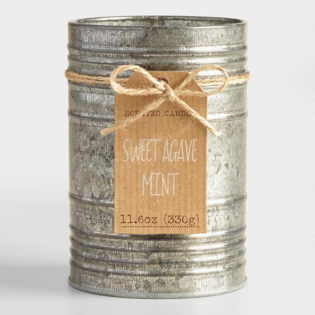 Sweet Agave and Mint Galvanized Antique Candle Tin