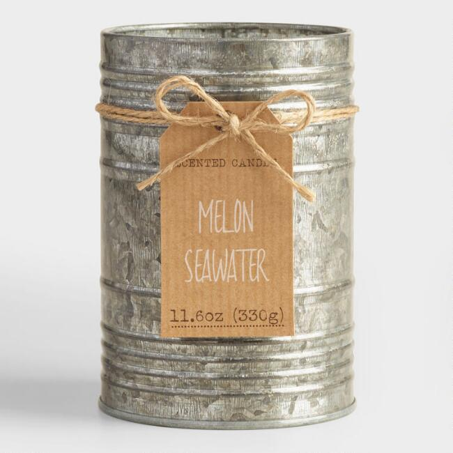 Melon and Seawater Galvanized Antique Candle Tin