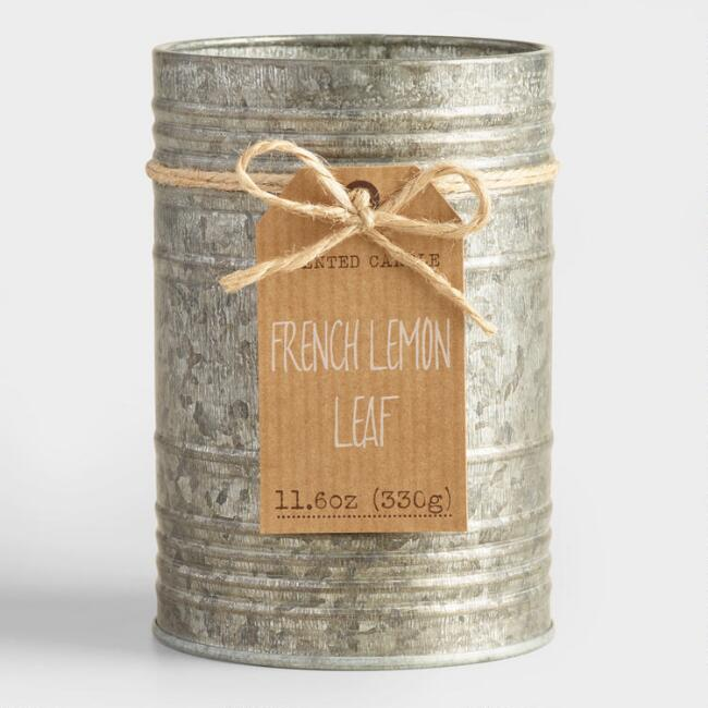 French Lemon and Olive Galvanized Antique Candle Tin
