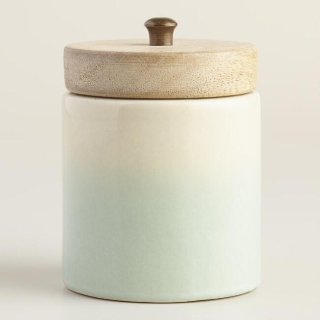Aqua Ceramic Black Currant and Vanilla Jar Candle