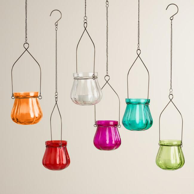 Glass Khabooja Hanging Tealight Lanterns Set of 6