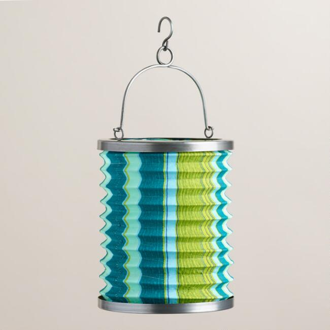 Seaside Stripe Fabric Folding Lantern
